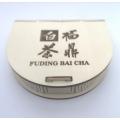 Dřevěný čajový penál na 100g koláček znaky Fu Ding Bai Cha