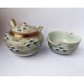 Stará japonská porcelánová konvička Kutani a slévátko